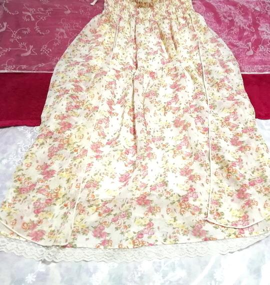 フローラルホワイト淡いピンク花柄シフォンキャミソールロングスカートワンピース Floral white flower chiffon camisole skirt/onepiece_画像2