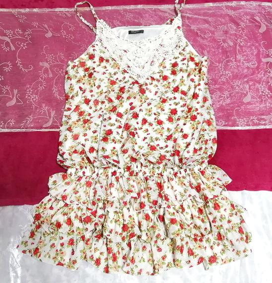 赤白フリルレースキュロットキャミソールネグリジェ/チュニック/トップス Red white ruffle lace culotte camisole negligee/tunic/tops_画像1