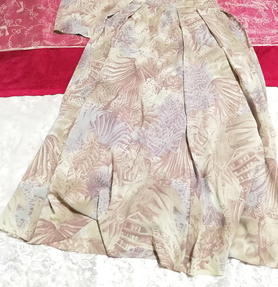 亜麻色ベージュ葉柄シフォンツーピーストップスとロングスカート2点セット Flax color beige petiole chiffon tops long skirt 2 piece set_画像3