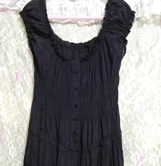 黒レースシフォンロングスカートマキシワンピース Black lace chiffon long skirt maxi onepiece_画像5
