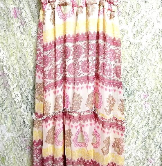 黄色ピンク白エスニックシフォンキャミソールスカートマキシワンピース Yellow pink white ethnic chiffon camisole skirt maxi onepiece_画像7