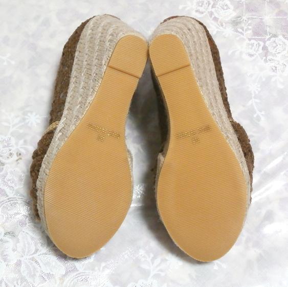 編み茶ブラウンヒール11cm/厚底レディース靴/厚底サンダル/室内ルームシューズ Brown/thick bottom women's shoes/sandals/indoor room_画像6
