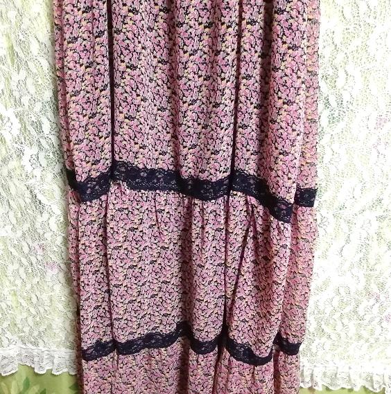 ピンク紫花柄シフォン紺レースキャミソールスカートマキシワンピース Pink purple flower chiffon navy lace camisole skirt maxi onepiece_画像6