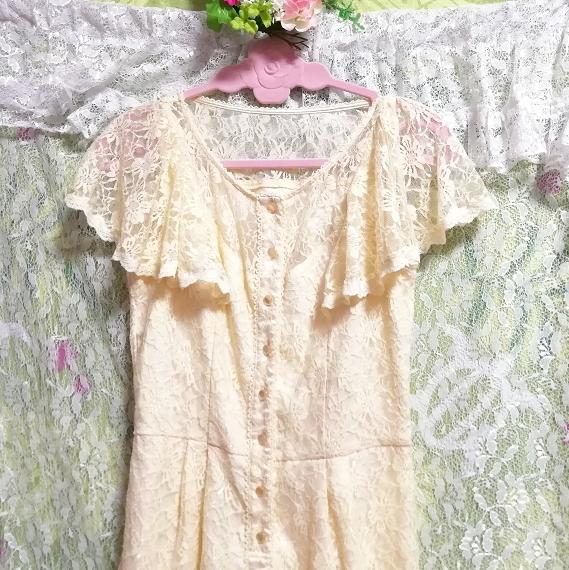 黄色レースキュロットワンピース/ネグリジェ Yellow lace culotte onepiece/negligee_画像3