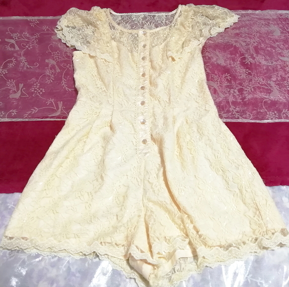 黄色レースキュロットワンピース/ネグリジェ Yellow lace culotte onepiece/negligee