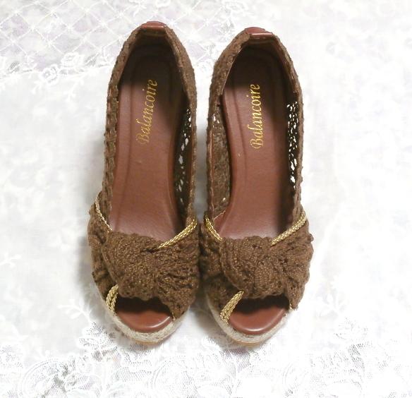 編み茶ブラウンヒール11cm/厚底レディース靴/厚底サンダル/室内ルームシューズ Brown/thick bottom women's shoes/sandals/indoor room_画像5