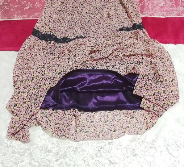 ピンク紫花柄シフォン紺レースキャミソールスカートマキシワンピース Pink purple flower chiffon navy lace camisole skirt maxi onepiece_画像3