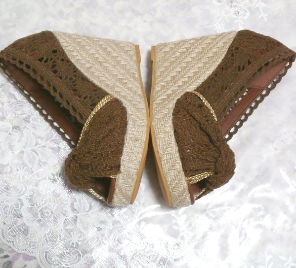 編み茶ブラウンヒール11cm/厚底レディース靴/厚底サンダル/室内ルームシューズ Brown/thick bottom women's shoes/sandals/indoor room_画像2