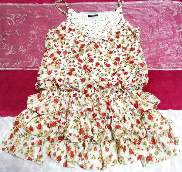 赤白フリルレースキュロットキャミソールネグリジェ/チュニック/トップス Red white ruffle lace culotte camisole negligee/tunic/tops_画像2