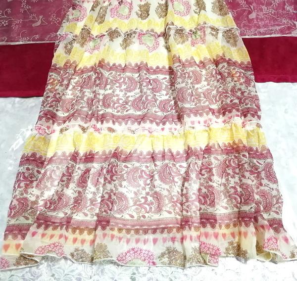黄色ピンク白エスニックシフォンキャミソールスカートマキシワンピース Yellow pink white ethnic chiffon camisole skirt maxi onepiece_画像3