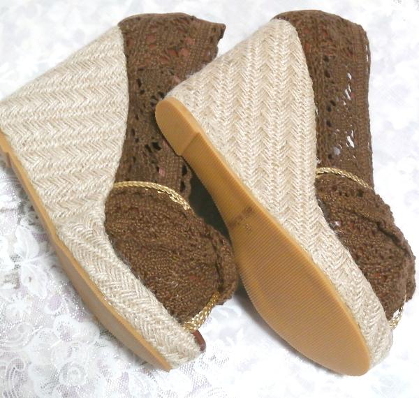編み茶ブラウンヒール11cm/厚底レディース靴/厚底サンダル/室内ルームシューズ Brown/thick bottom women's shoes/sandals/indoor room_画像1