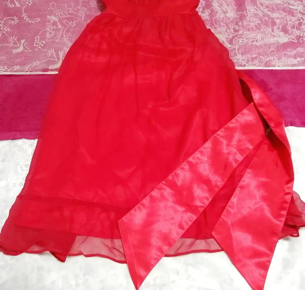 絹シルク100%真紅赤腰紐付キャミソールシフォンワンピースドレス Silk 100% crimson red camisole chiffon onepiece dress_画像3