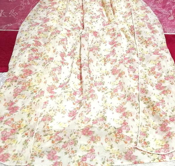 フローラルホワイト淡いピンク花柄シフォンキャミソールロングスカートワンピース Floral white flower chiffon camisole skirt/onepiece_画像3