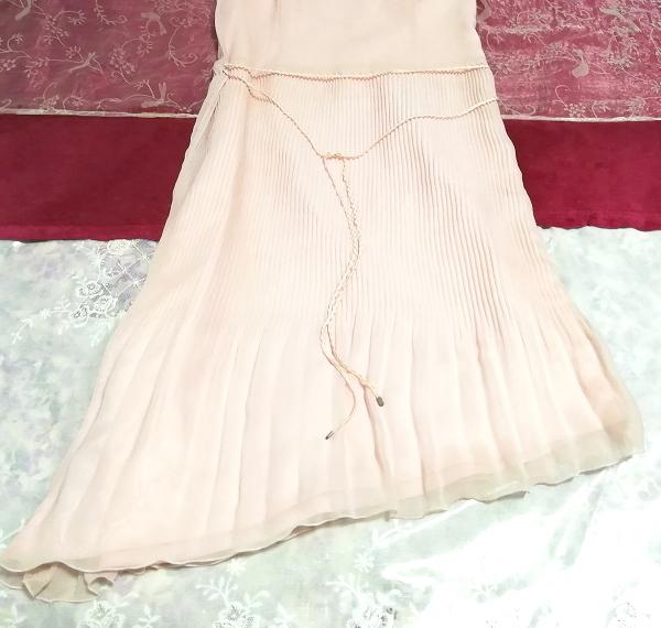 ピンクシフォンノースリーブ斜めカットスカートワンピース Pink chiffon sleeveless diagonal cut skirt dress_画像2