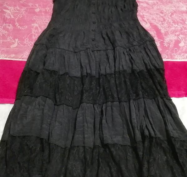 黒レースシフォンロングスカートマキシワンピース Black lace chiffon long skirt maxi onepiece_画像2