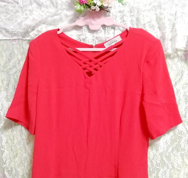 赤レッド半袖チュニックスカート/トップス/ワンピース Red red short sleeve tunic skirt/tops/onepiece_画像3