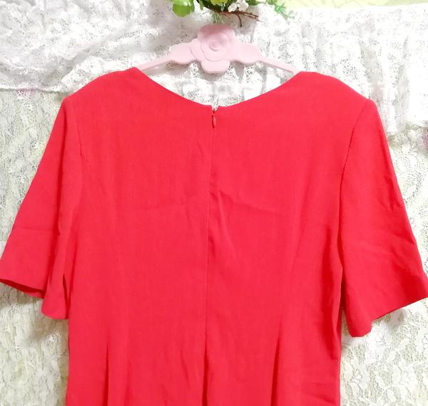 赤レッド半袖チュニックスカート/トップス/ワンピース Red red short sleeve tunic skirt/tops/onepiece_画像4
