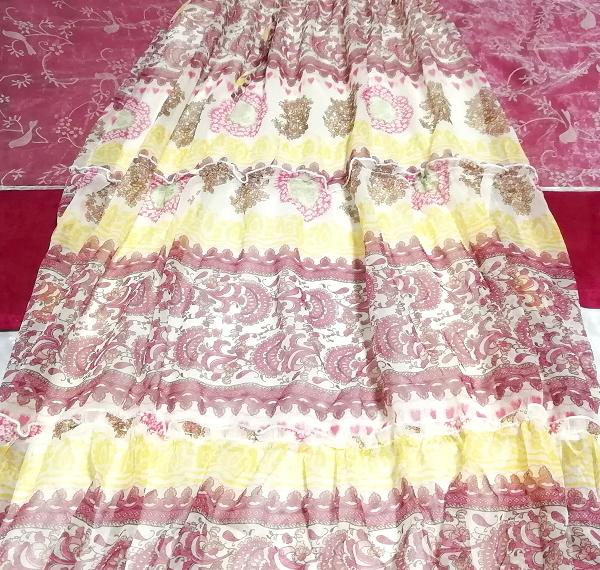 黄色ピンク白エスニックシフォンキャミソールスカートマキシワンピース Yellow pink white ethnic chiffon camisole skirt maxi onepiece_画像2