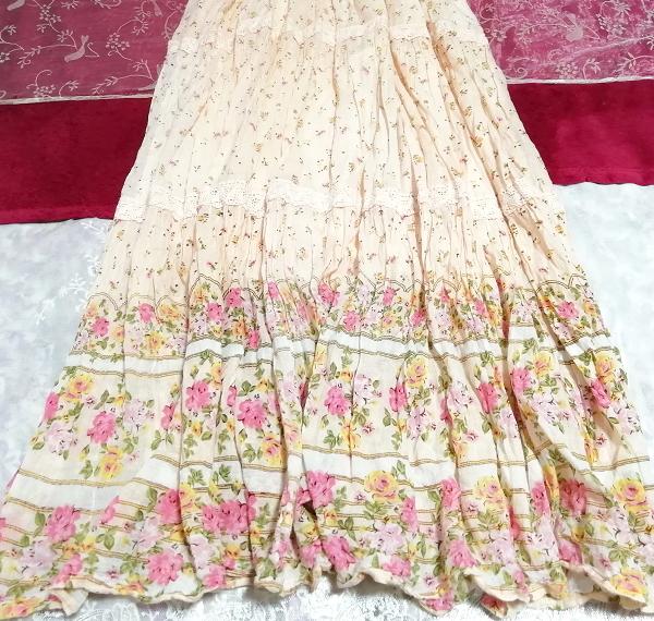ピンク花柄綿コットン100%キャミソールロングスカートワンピースネグリジェ Pink flower pattern cotton camisole skirt dress/negligee_画像2