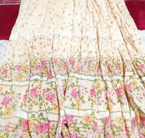 ピンク花柄綿コットン100%キャミソールロングスカートワンピースネグリジェ Pink flower pattern cotton camisole skirt dress/negligee_画像3