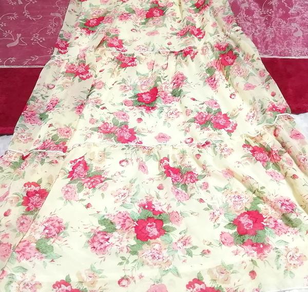 黄色花柄シフォンキャミソールロングスカートマキシワンピース Yellow flower pattern chiffon camisole long skirt maxi onepiece_画像2