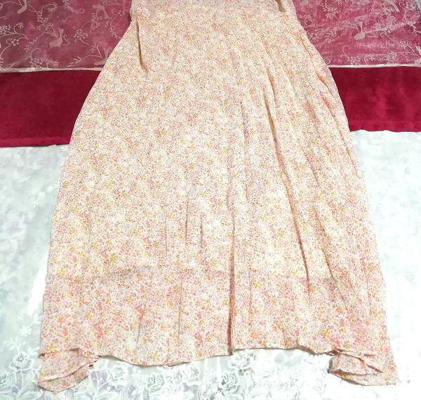 ピンクオレンジ花柄シフォンキャミソールロングスカートワンピース Pink orange floral pattern chiffon camisole long skirt dress_画像2