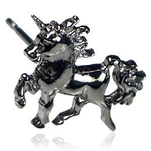 メンズピアス シルバー ブラックゴールド (馬・ホース・ユニコーン型)_画像2