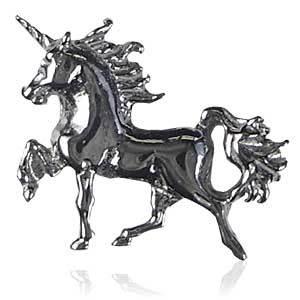 メンズピアス シルバー ブラックゴールド (馬・ホース・ユニコーン型)_画像1