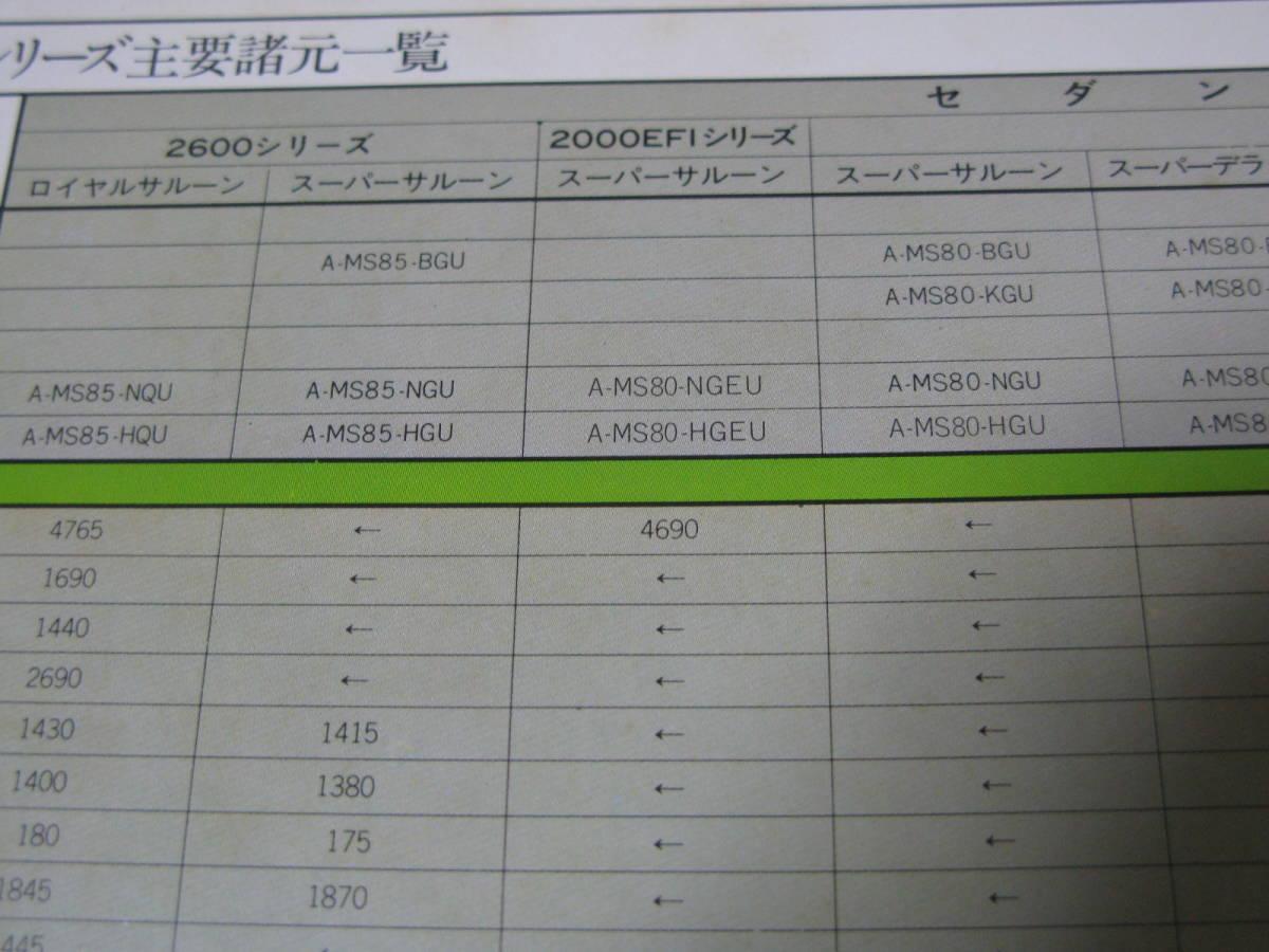 旧車カタログ 当時物 昭和 トヨタ クラウン MS80 MS90 系 ハードトップ セダン 全34ページ(裏表表紙含む) 中古 レア 個人保管品 送185円_画像9