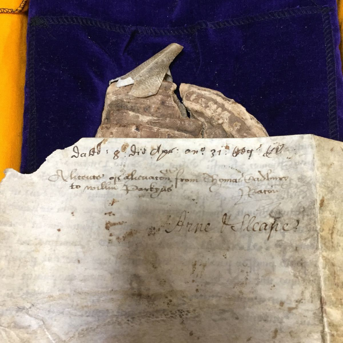 エリザベス一世 の玉璽証書子牛皮紙に書かれたラテン語の王室特許証 【 イギリス女王 英国 書 軍人 命令 任命 政治家 皇室 勲記 封筒 】_画像9