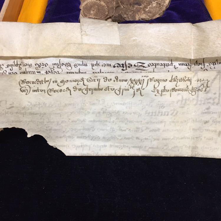 エリザベス一世 の玉璽証書子牛皮紙に書かれたラテン語の王室特許証 【 イギリス女王 英国 書 軍人 命令 任命 政治家 皇室 勲記 封筒 】_画像2
