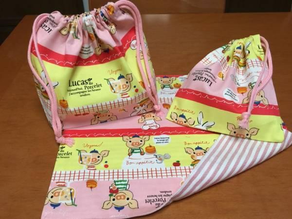 ●★ルーカスコブタ(桃)②★マット(裏)・弁当袋・巾着小 3点セット