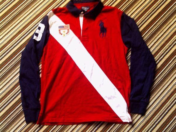 ポロラルフローレンビッグポニーラガーシャツ美品L(14-15) 160/80 製造 ラルフローレン(株)