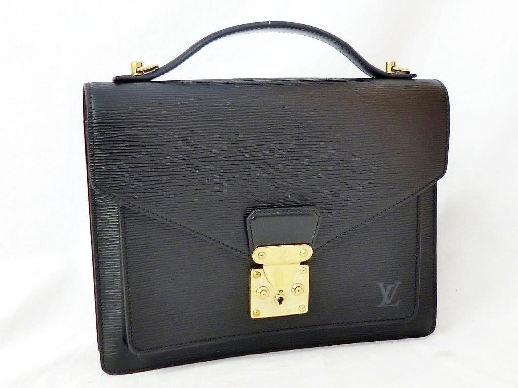 LOUIS VUITTON ルイヴィトン エピ モンソー M52122 ノワール ショルダーストラップ・保存袋付 2WAY ハンドバッグ ビジネスバッグ☆ZH10187