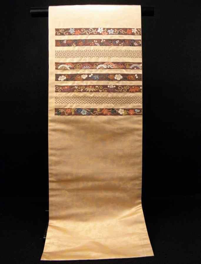 【帯喜楽】タ2-16●九寸名古屋帯●刺繍の段縞唐華文_画像10