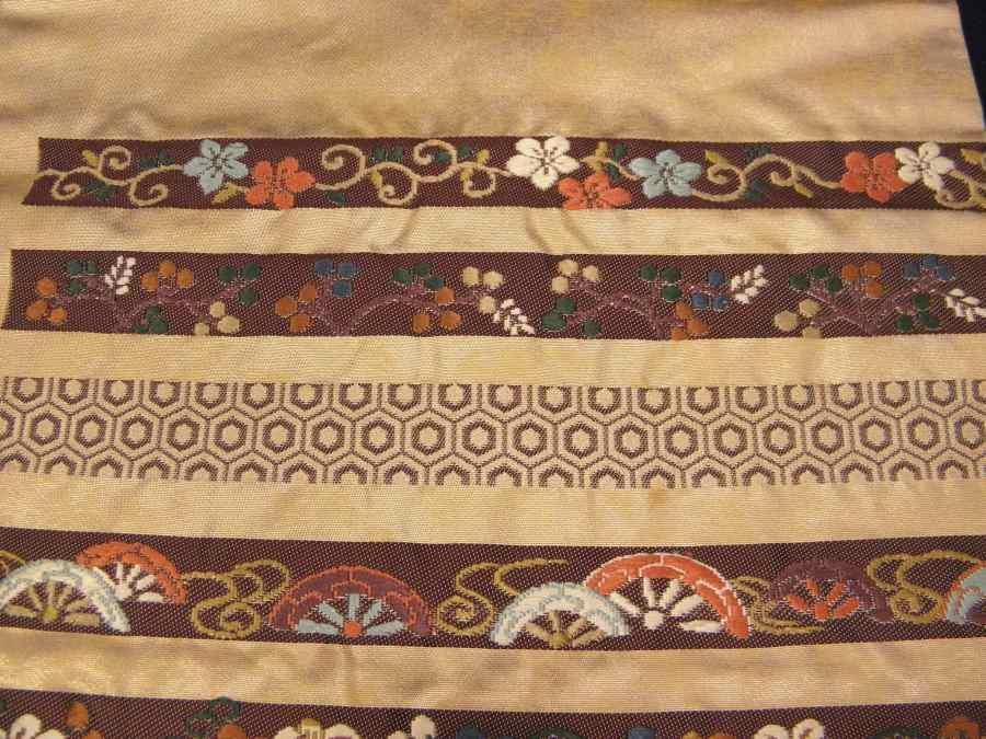 【帯喜楽】タ2-16●九寸名古屋帯●刺繍の段縞唐華文_画像5