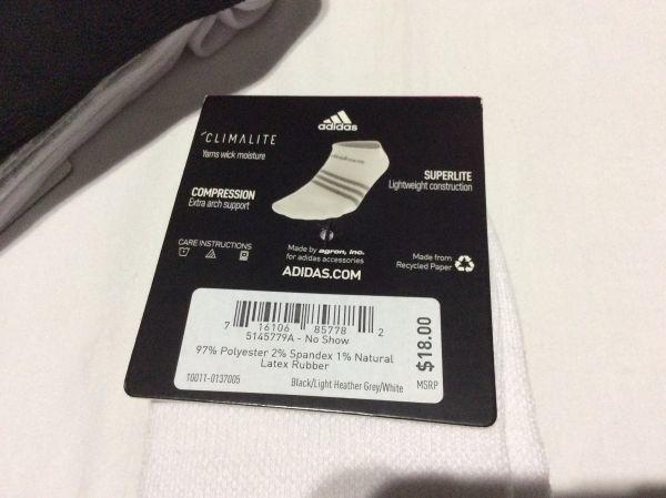 最終閉店処分! 半額!adidas アディダス 6Pソックス W5-10 /100均百均よりちょっとだけ高い一足約¥160//訳あり売り切りセール_画像3