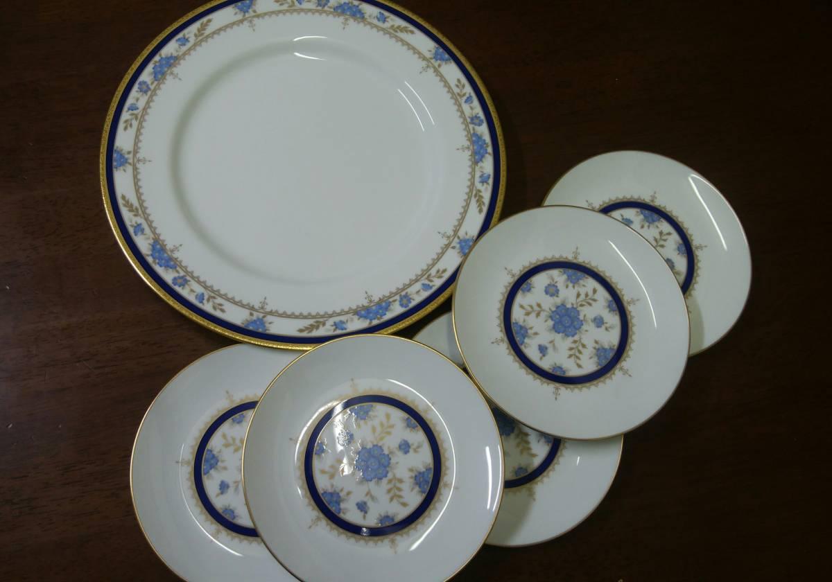 新品 未使用 ナルミ NARUMI BONECHINA ボーンチャイナ ケーキセット 金彩 大皿1枚&小皿5枚_画像1