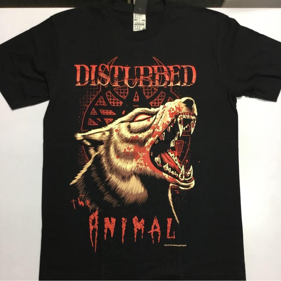バンドデザイン半袖Tシャツ DISTURBED Lサイズ ディスターブド SR3B4