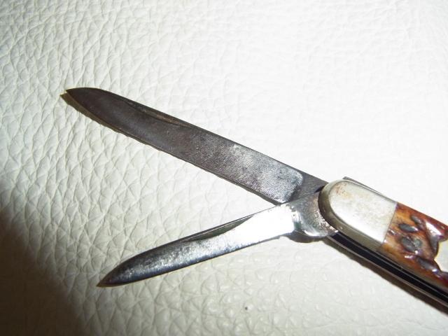 美品希少 1900年頃 米国製■Robeson Cutlery Company(ロブソン)ハンドルスタッグ ブレード 刃金(鉄刃)二丁出 フォールディングナイフ