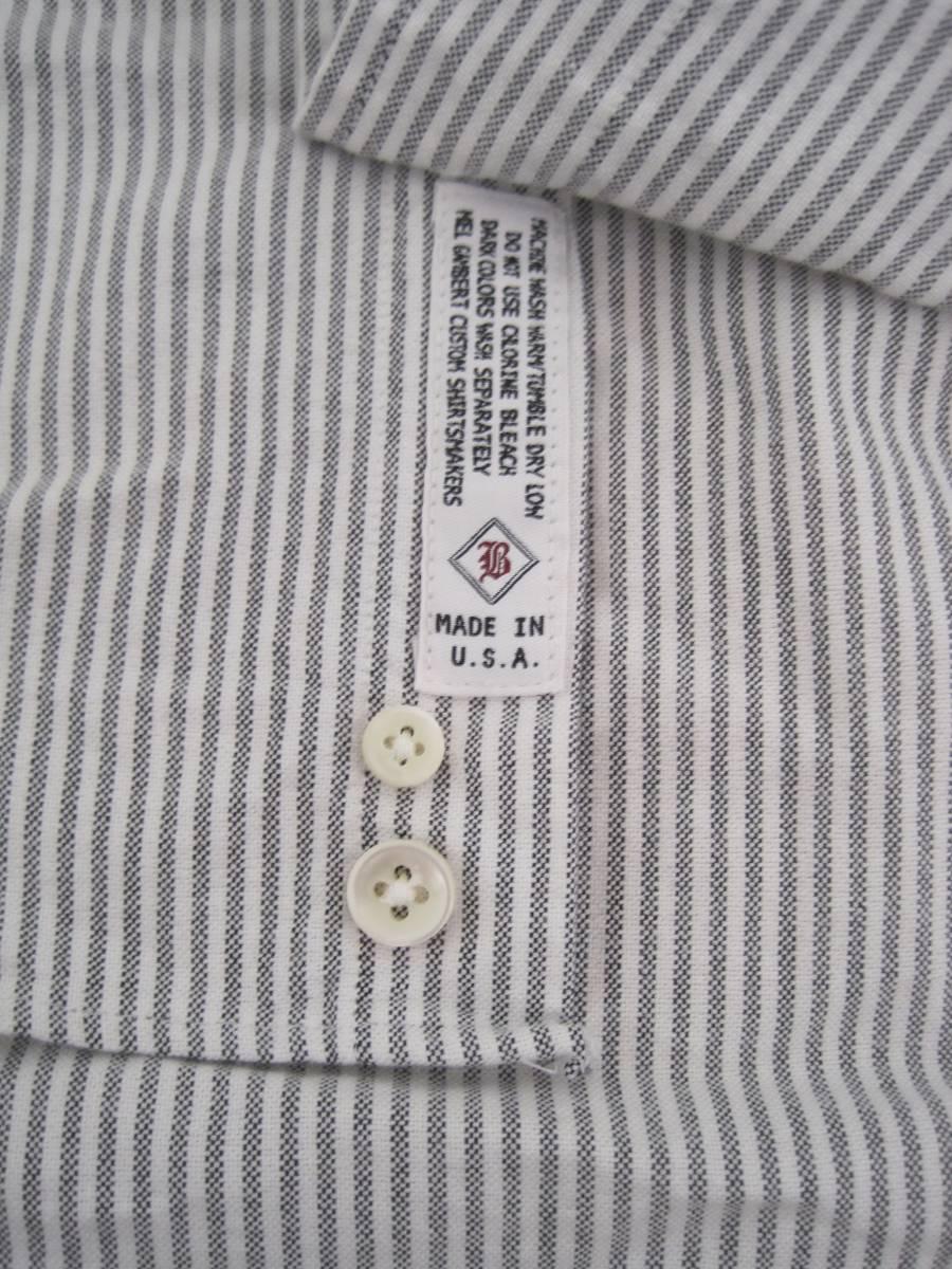 アメリカ製 ギャンバートカスタムシャツGambert Custom Shirt×Blue Workブルーワーク ボタンダウンシャツ S_画像4