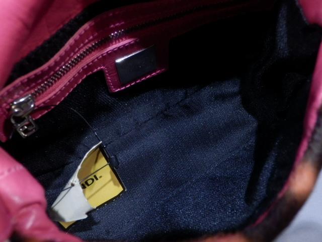 1円 FENDI フェンディ ハラコ レザー ヒョウ柄 ビジュー ハンド ショルダー バッグ 超美品_画像8