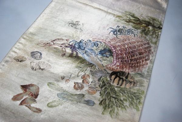 きものさらさ レアモチーフ!蟹・魚・魚籠・きのこ 野菜 袋帯 刺繍入 アンティーク リサイクル 正絹_画像2
