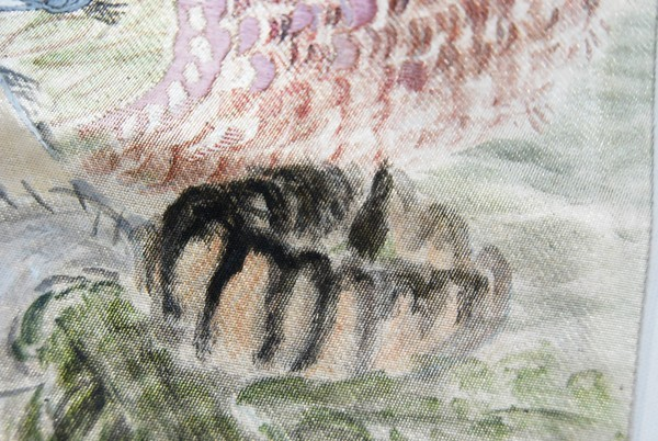 きものさらさ レアモチーフ!蟹・魚・魚籠・きのこ 野菜 袋帯 刺繍入 アンティーク リサイクル 正絹_画像4
