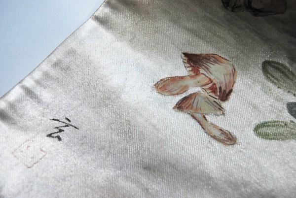 きものさらさ レアモチーフ!蟹・魚・魚籠・きのこ 野菜 袋帯 刺繍入 アンティーク リサイクル 正絹_画像7