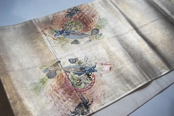 きものさらさ レアモチーフ!蟹・魚・魚籠・きのこ 野菜 袋帯 刺繍入 アンティーク リサイクル 正絹_画像10