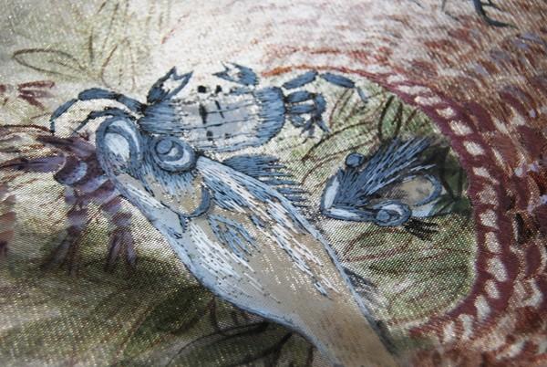 きものさらさ レアモチーフ!蟹・魚・魚籠・きのこ 野菜 袋帯 刺繍入 アンティーク リサイクル 正絹_画像3