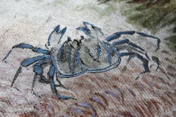 きものさらさ レアモチーフ!蟹・魚・魚籠・きのこ 野菜 袋帯 刺繍入 アンティーク リサイクル 正絹_画像9