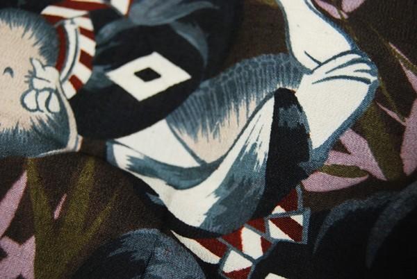 きものさらさ アンティーク 雀踊り 奴踊り ヴィンテージ 男襦袢 正絹 _画像6