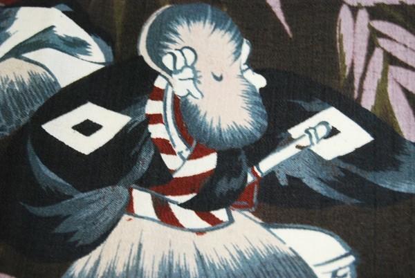 きものさらさ アンティーク 雀踊り 奴踊り ヴィンテージ 男襦袢 正絹 _画像10